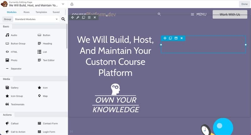 Website and Course Content Page Builder For Custom Course Content