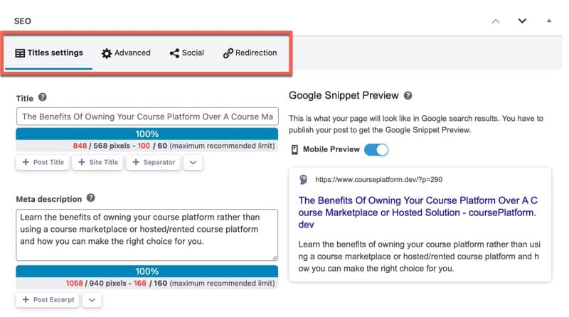 Owned Course Platform Search Engine Optimization Features