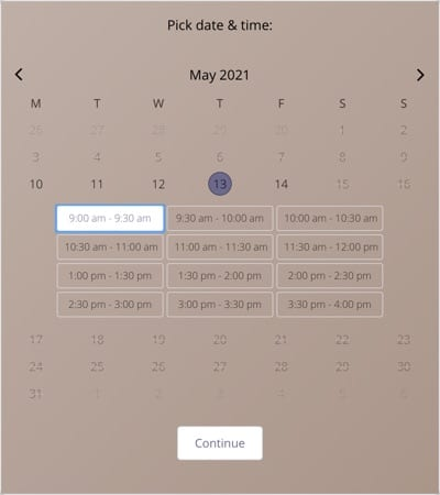 Schedule one-on-one calls, classes, and more with a scheduling plugin.